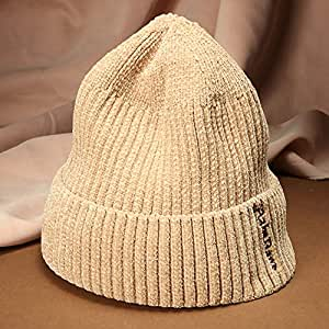 WHPSTZ American Gothic Letters Woolen Hat Men and Women Couples Street Chenille Thick Knit Cap Women's Wool Cap (Color : Camel)