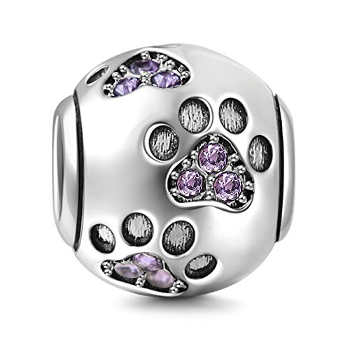 Dog Paw Charm 925 Sterling Silver Pet Charm Heart Beads fit for Fashion Charms Bracelets (purple)