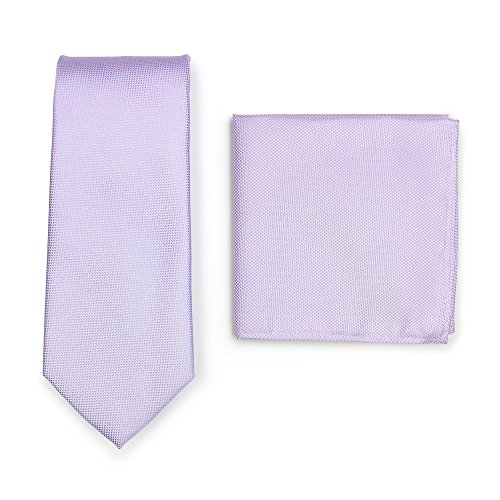- Bows-N-Ties Men's Solid Necktie and Pocket Square Set Matte Microtexture Finish (Sweet Lavender)