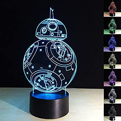 3D Illusion Lamp Robot bb8 3D LED Night Light 7 Color Changing Desk Table Lamp Home Decor Night Light for Baby Kids Room Sleeping Nightlight Best Gift Toys