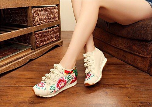 Broderie Chaussures Short De En Beige Peluche Fleur Femmes Occasionnels Augmentées Wedge Casual Voyage 4CxtZxBwq