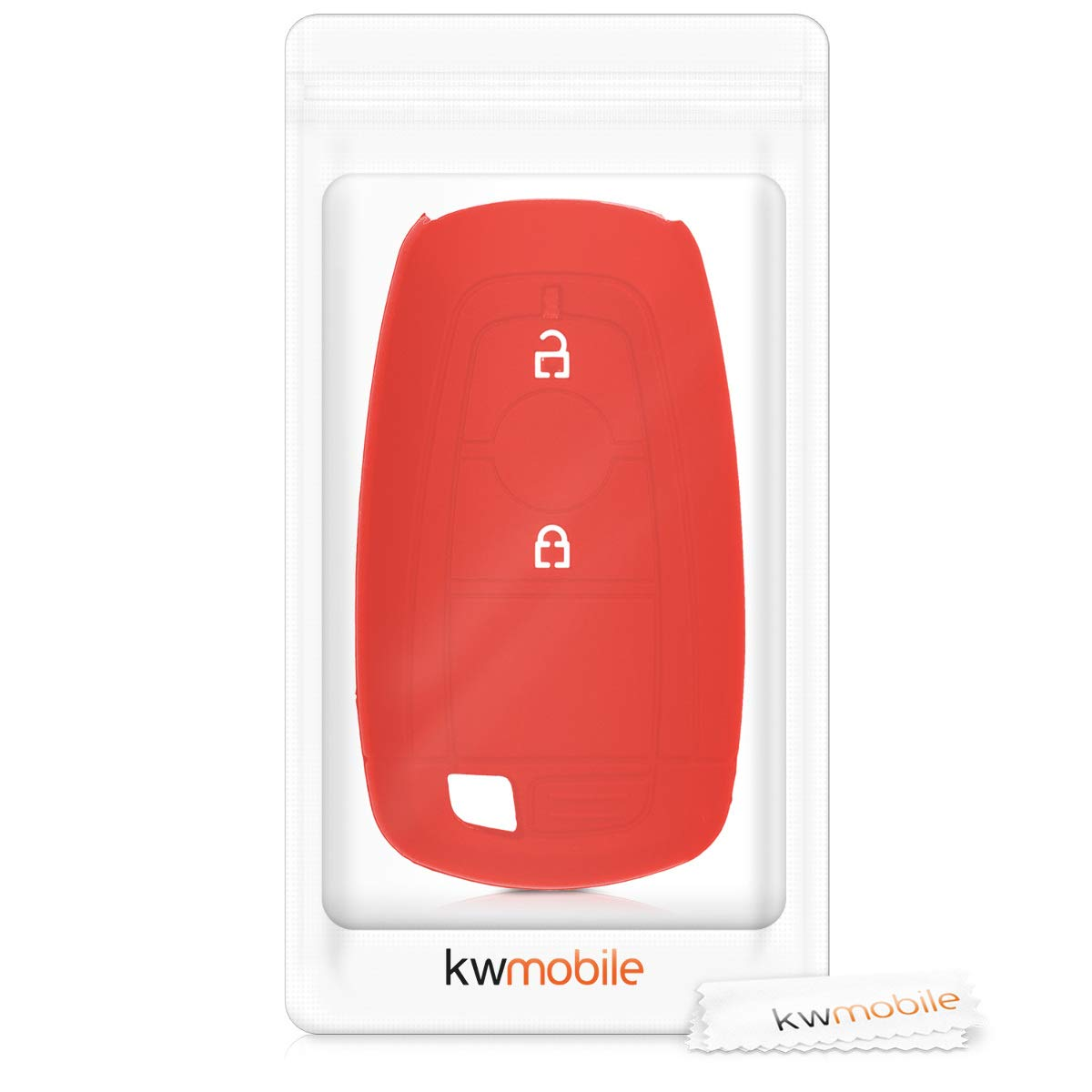Suave Carcasa Protectora Silicona - Case Mando de Auto Negro de kwmobile Funda de Silicona para Llave Keyless Go de 2 Botones para Coche Ford