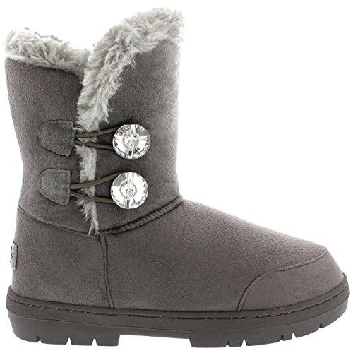 Mujer Twin Diamond Button Short Fur Impermeable Invierno Rain Nieve Botas Gris