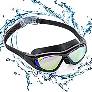 EveShine Premium Big Frame Competition Swim Goggles with Free Protective Case Pro Clear Lens & Wide-Vision Swimming…