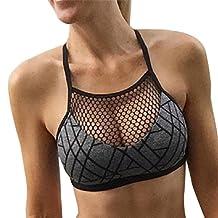 Kimloog Women Halter Neck Mesh Gym Short Tank Tops Tight Camisole Yoga Vest Bra Blouse (L, Gray)