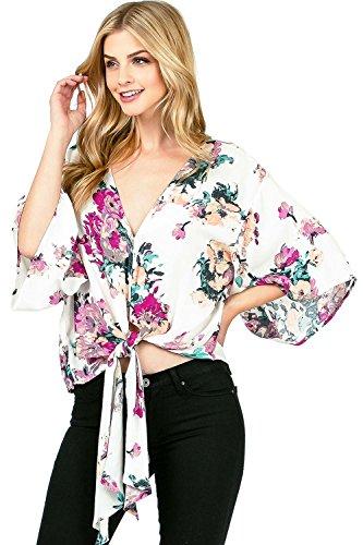Love Stitch Women's Light Rayon Floral Blouse (S, (Love Stitch)