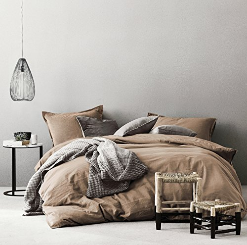 Eikei Washed Cotton Chambray Duvet Cover Solid Color Casual Modern Style Bedding Set Relaxed Soft Feel Natural Wrinkled Look (Queen, Rust)