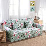 RUGAI-UE Sofa Slipcover sofa cover tight fitted elastic gasket cover three upholstered sofa full four living room,A single seater 90-140cm,the lotus pool by moonlight