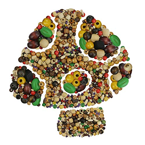 BcPowr 215g Mixed Beads Assorted Color Round and Different Sizes Wood Beads,Large Hole Round Wood Spacer Beads for DIY Project, Wooden Spacer Beads