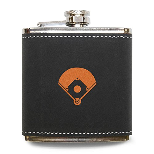 MODERN GOODS SHOP Baseball Diamond Flask - Stainless Steel Body With Grey Leather Cover - 6 Oz Leather Hip Flask - Made In USA Baseball 6 Ounce Flask