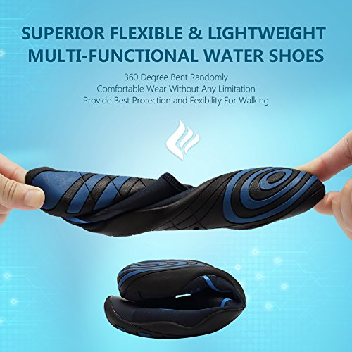 CIOR Men and Women's Barefoot Quick-Dry Water Sports Aqua Shoes With 14 Drainage Holes For Swim, Walking, Yoga, Lake, Beach, Garden, Park, Driving, Boating,DND002,Blue,46 4