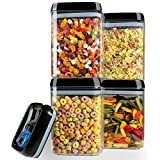 Hangoes Food Storage Containers Airtight Cereal & Dry Food Storage Set, 4 PCS Plastic Containers 1.7L(58.1 Oz) with 20 Free Chalkboard Labels & 1 Liquid Chalk Marker, BPA Free, Keep Food Dry & Fresh