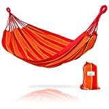 Hammock Sky Brazilian Double Hammock – Two Person Bed for Backyard, Porch, Outdoor and Indoor Use – Soft Woven Cotton Fabric for Supreme Comfort (Orange & Yellow Stripes) For Sale