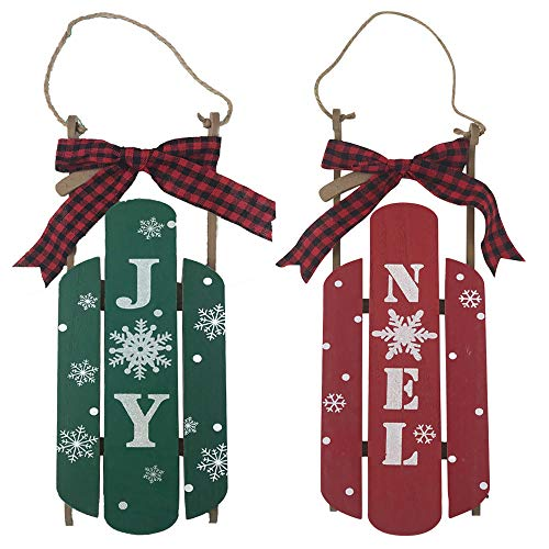 Christmas Holiday Sled Decoration Hanging Sign - Red Noel and Green Joy with Buffalo Check Ribbon (Set of 2) ()