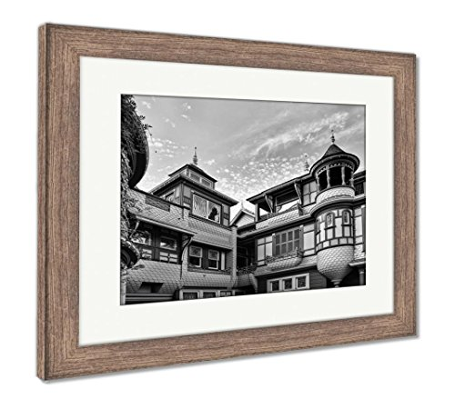 Ashley Framed Prints The Winchester Mystery House, Wall Art Home Decoration, Black/White, 34x40 (Frame Size), Rustic Barn Wood Frame, AG6534475