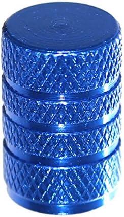 Ventile für Pkw Motorrad Fahrrad 2 x blaue Aluminium Ventilkappen mit Dichtung