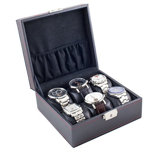 Black Watch Case Display Storage Box With Red Stitching Holds 6 Watches With Soft Adjustable Pillows ()