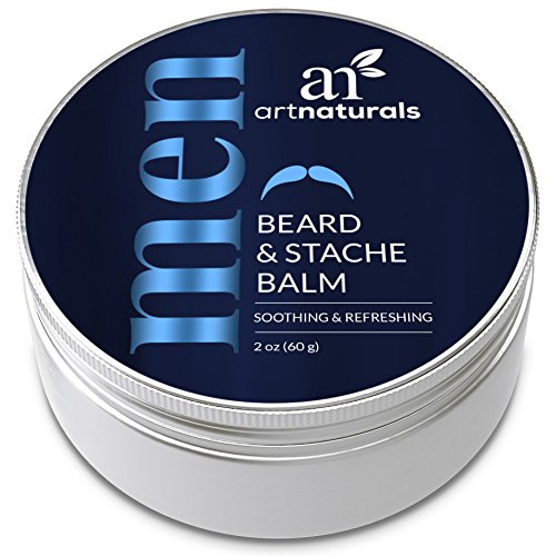 ArtNaturals Mustache and Beard Balm-Wax - 2 oz - Natural Oil Leave In Conditioner that Soothes Itching, Thickens, Strengthens, Softens, Tames and Styles Facial Hair - Hair Style Facial
