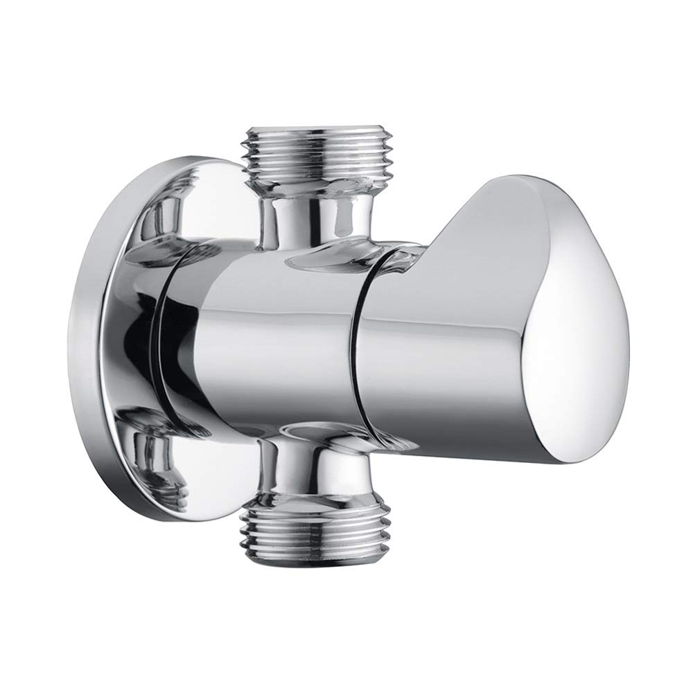 Royal H/&H Modern Brass Angle Valve Stop 1//2 inch Dual Outlet Male IPS G1//2 Solid Metal Quarter Turn Curve Knob Polished Chrome