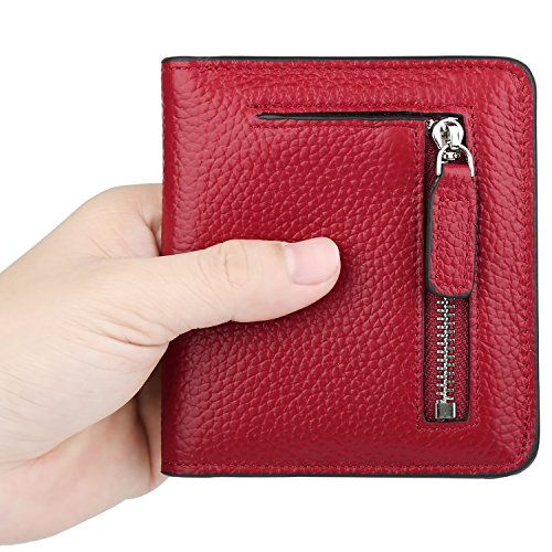 GDTK RFID Blocking Wallet Women's Small Compact Bifold Leather Purse Front Pocket Mini Wallet (Wine Red) by GDTK (Image #5)