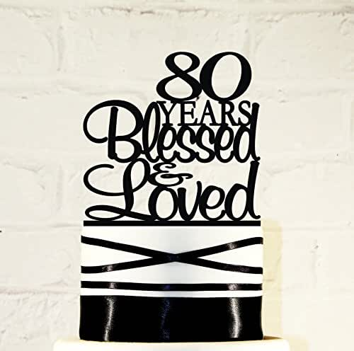 Amazon.com: 80th Birthday Cake Topper - 80 Years Blessed ...