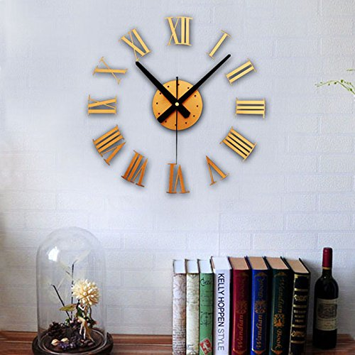 (Giulot Modern DIY Large Wall Clock Big Watch Decal 3D Stickers Roman Numerals Wall Clock Home Office Removable Decoration for Living Room - Gold (Battery NOT Included))