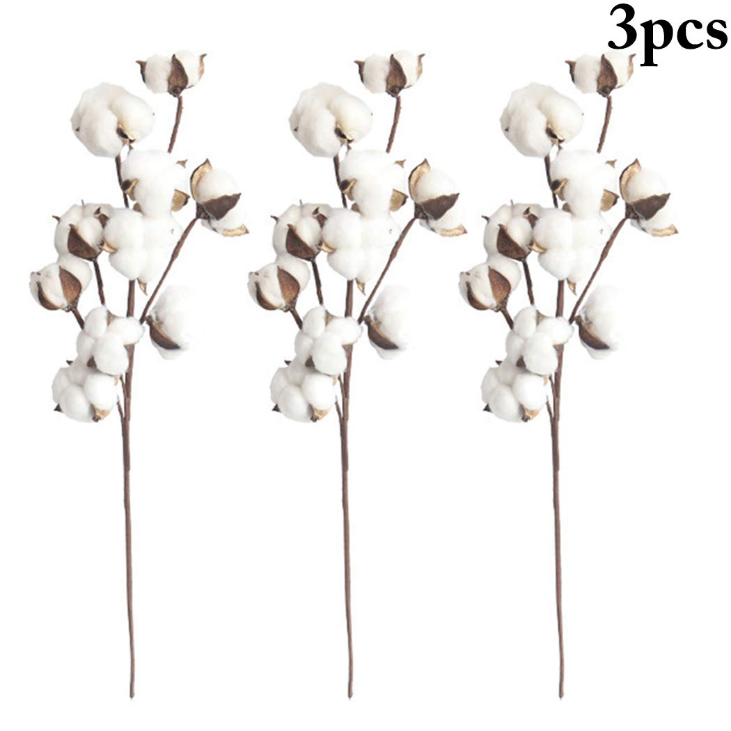 Outgeek 3PCS Artificial Flower Decorative Cotton Bridal Bouquet Fake Plant for Wedding