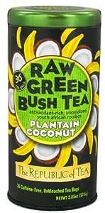 The Republic of Tea, Raw Green Bush Tea Plantain Coconut, 36-Count
