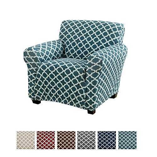 Home Fashion Designs Printed Twill Arm Chair Slipcover. One Piece Stretch Chair Cover. Strapless Arm Chair Cover for Living Room. Brenna Collection Slipcover. (Chair, Smoke Blue) (For Design Fashion Living)
