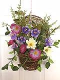 Cool Summer Morning Silk Floral Wreath Basket Front Door Indoor Seasonal Decor Spring Summer Fall