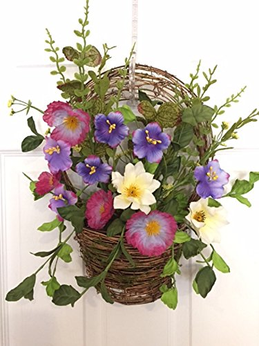 Cool Summer Morning Silk Floral Wreath Basket Front Door Indoor Seasonal Decor Spring Summer Fall (Fall Outdoor Decorating)