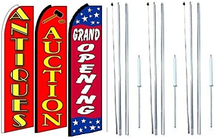Pack of 3 Antiques,Auction Grand Opening King Swooper Feather Flag Sign Kit with Complete Hybrid Pole Set