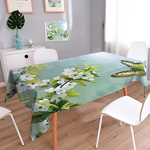"Philiphome Harmony Scroll Tablecloth Green Butterfly on The Background of The Spring Bloom Cover Assorted Size 60""x126"""