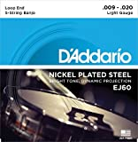 D'Addario EJ60 Nickel 5-String Banjo Strings, Light, 9-20