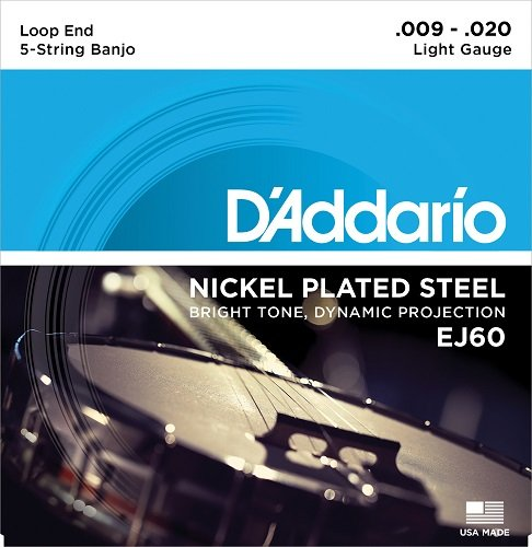 D'Addario EJ60 Nickel 5-String Banjo Strings, Light, 9-20 D' Addario