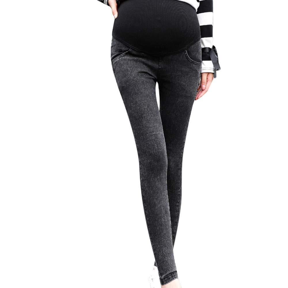 Harpily Maternity Elastic Jeans Boot Cut Pregnant Clothes Over Bump Extender Cotton High Waistband