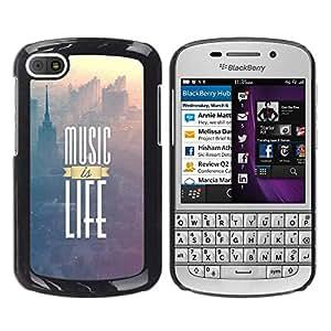 // PHONE CASE GIFT // Duro Estuche protector PC Cáscara Plástico Carcasa Funda Hard Protective Case for BlackBerry Q10 / La música es vida impresiones /