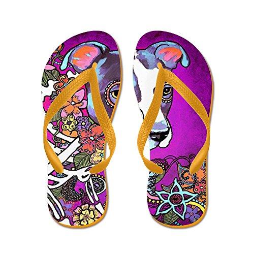 CafePress Dia Los Muertos Dog, Pit Bull - Flip Flops, Funny Thong Sandals, Beach Sandals Orange