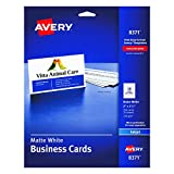 """Avery Business Cards for Inkjet Printers, Matte, White, Pack of 25 (10 cards/sheet) 2"""" x 3 1/2"""""""