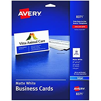 Amazon avery two side printable clean edge business cards avery business cards for inkjet printers matte white pack of 25 10 cards sheet 2 x 3 12 reheart Image collections