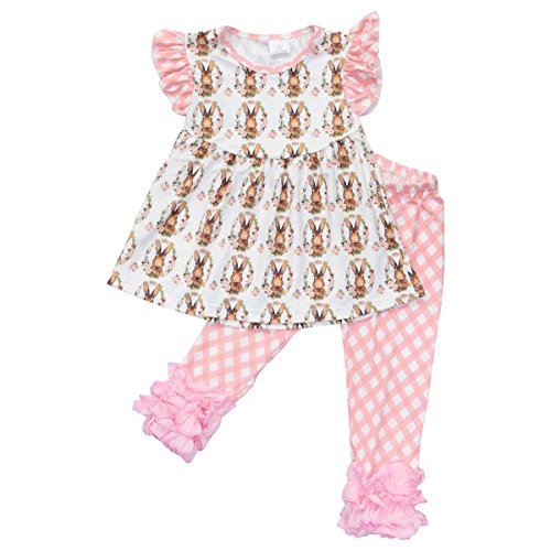 Unique Baby Girls Vintage Easter Bunny Easter Outfit (5T/L, Light Pink) (Show Girl Outfits)