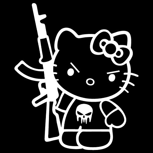 Hello Kitty Machine Gun AK-47 / Vinyl Decal Sticker (HK-17) (5'' x 4.3'', White)