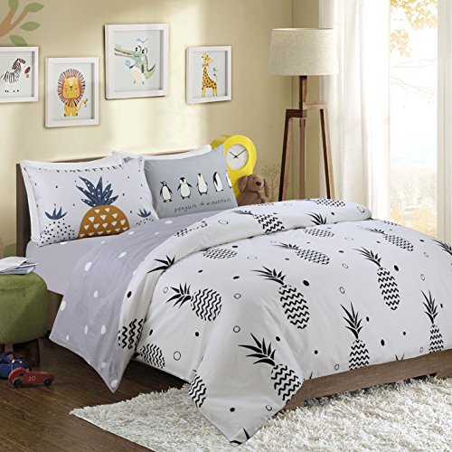 HNNSI Girls Boys Pineapple Pattern Kids Bedding Duvet Cover Sets QUEEN Size 4 Pieces, 100% Cotton AB Version Design Reactive Printing Kids Comforter Cover Sets (Fitted Sheet Set, Queen)