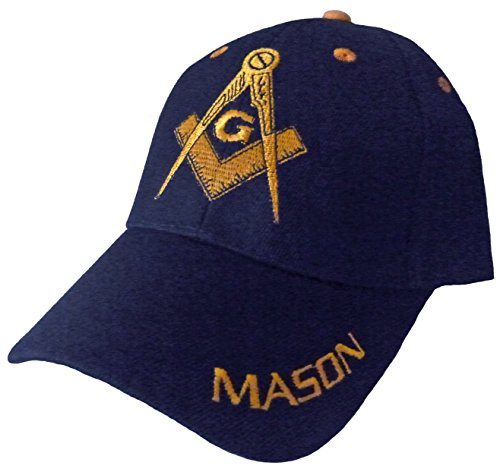 Mason Hat With Masonic Lodge Emblem Logo Incl Bcah Bumper Sticker  Navy Blue