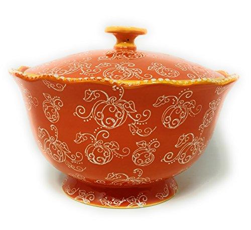 (Temp-tations 3 qt Serving Bowl with Lid, Stoneware, Scallop & Flange Edge ... (Floral Lace Pumpkin))