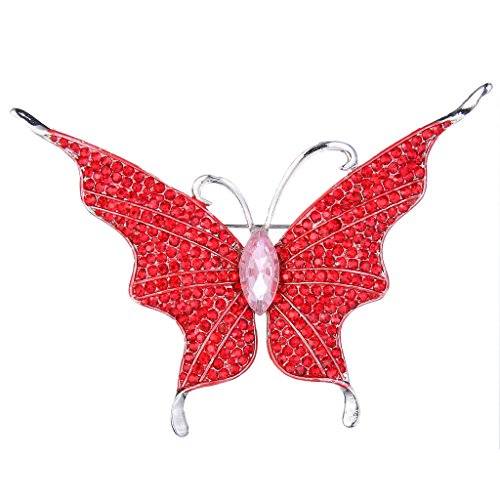 EVER FAITH Women's Austrian Crystal Butterfly Insect Brooch Red Silver-Tone Butterfly Ruby Brooch