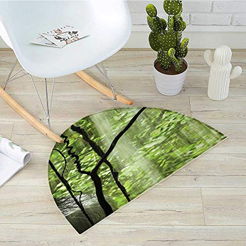 Rainforest Half Round Door mats Jungle View with Waterfall Rocks and Trees Natural Beauty in Wild Atmosphere Bathroom Mat H 35.4