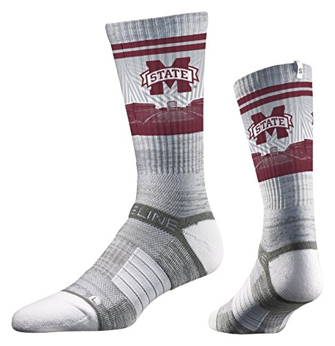 Strideline NCAA Mississippi State Bulldogs Premium Athletic Crew Socks, Grey, One ()