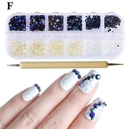 Amazon com : Kamas 1Set White AB Colors Jelly 3d Flame Nail