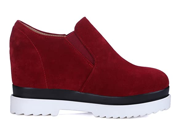 SHOWHOW Damen Nubuk Durchgängiges Plateau High Top Sneakers Rot 35 EU